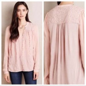 ANTHRO Tiny Blush Embroidered Long Sleeve Blouse S